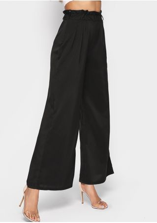 Solid High Waist Wide Leg Pants with Belt