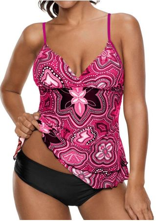 Printed Wrap Adjustable Strap Tankini
