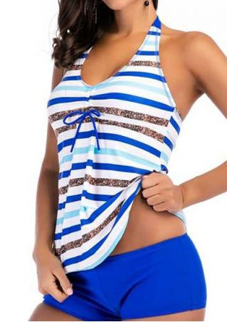 Striped Drawstring Halter Tankini