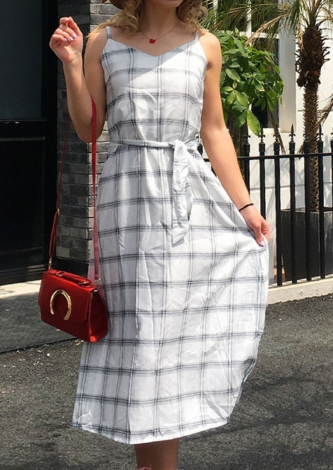 Plaid Spaghetti Strap Casual Dress without Necklace 413330
