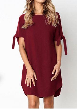 Solid Tie Short Sleeve Mini Dress