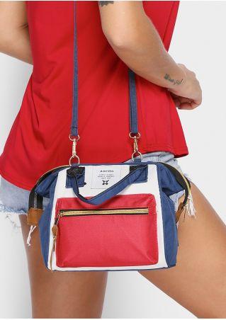 Color Block Removable Strap Handbag