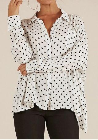 Polka Dot Turn-Down Collar Button Shirt