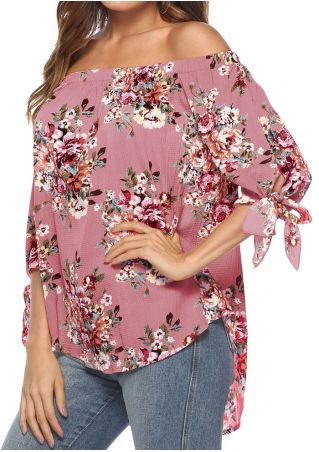 Floral Off Shoulder Tie Blouse