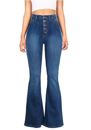 Solid Button Pocket Flare Jeans