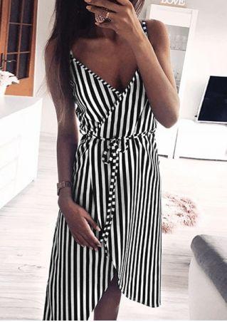 Striped Wrap Spaghetti Strap Casual Dress