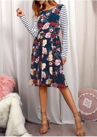 Floral Striped Pocket Casual Dress