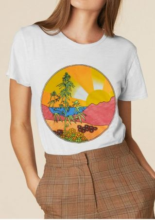 Floral Bamboo Mountain Sunset T-Shirt