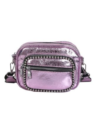 PU Beading Square Crossbody Bag
