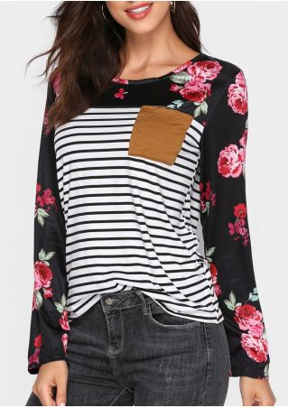Floral Striped Pocket Long Sleeve T-Shirt