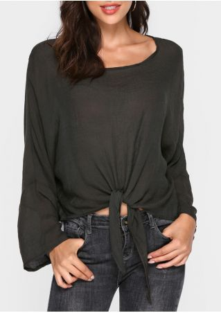 Solid Tie Long Sleeve Blouse