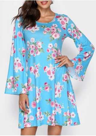 Floral Flare Sleeve Mini Dress