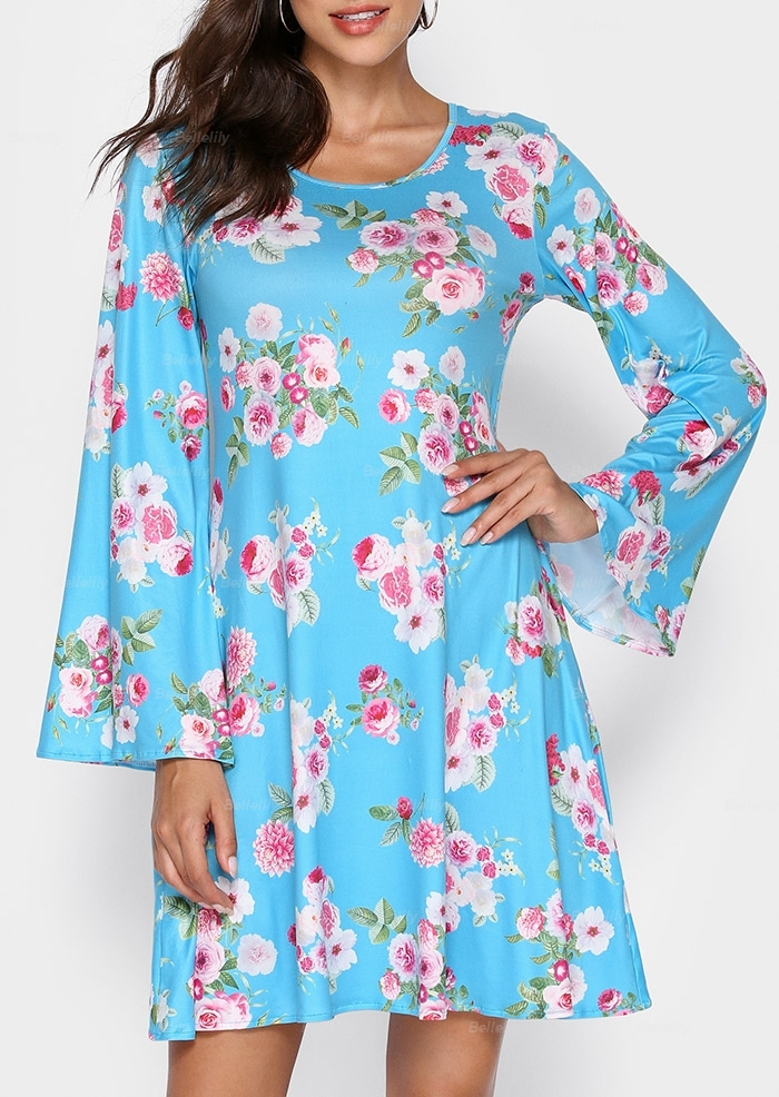 Floral Flare Sleeve Mini Dress
