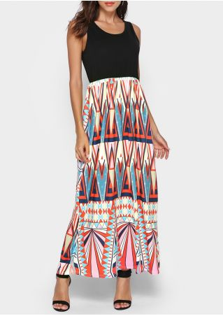 Geometric Splicing Sleeveless Maxi Dress