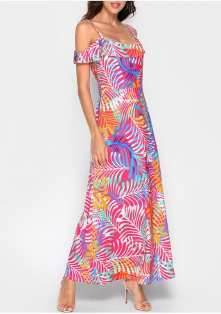 Leaf Layered Cold Shoulder Maxi Dress