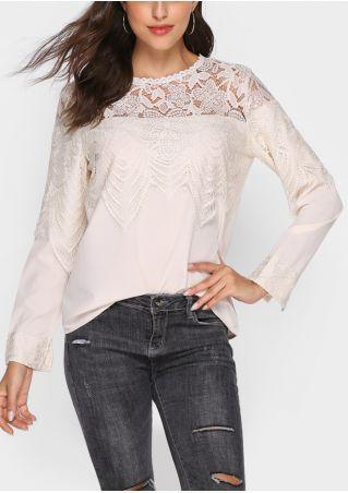 Solid Lace Floral Button Blouse