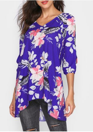 Floral Asymmetric Slit V-Neck Blouse