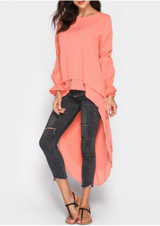Solid Asymmetric Layered Dovetail Blouse