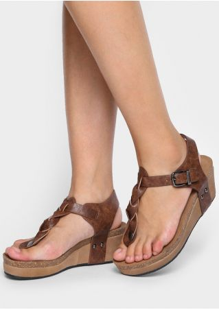 Solid PU Braided Wedge Sandals