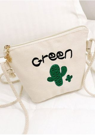 Green Cactus Zipper Crossbody Bag