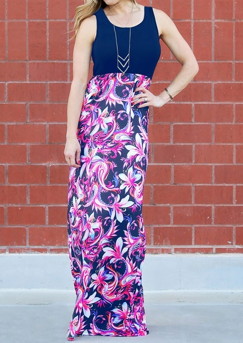 Floral Splicing Sleeveless Maxi Dress without Necklace