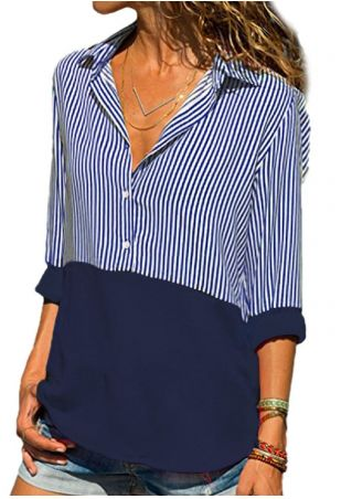 Striped Splicing Turn-Down Collar Blouse without Necklace