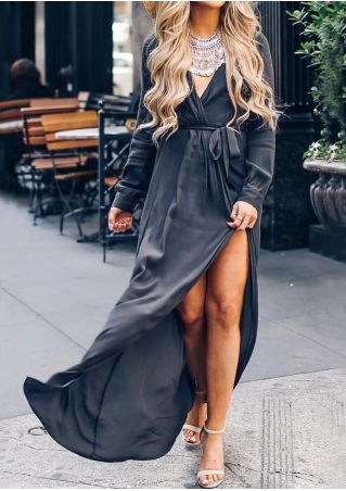 Solid Wrap Slit Maxi Dress without Neckalce