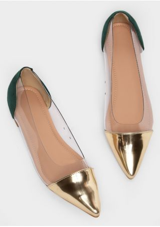 Transparent Splicing Pointed Toe Flats