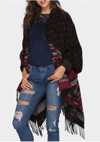 Geometric Knitted Fringe Shawl Cardigan