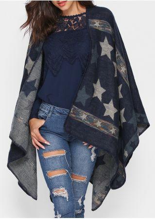 Star Knitted Shawl Cardigan