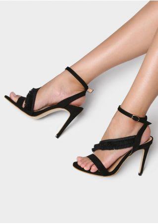 Solid Tassel Splicing Heeled Sandals