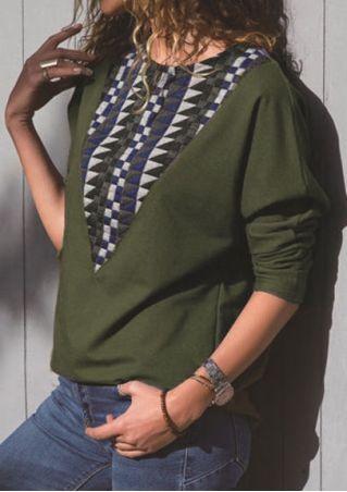 Geometric Splicing Long Sleeve T-Shirt