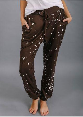 Star Drawstring Pocket Elastic Waist Pants