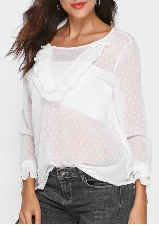 Solid Layered Flouncing See-Through Blouse