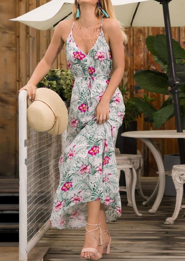 Floral Tie V-Neck Maxi Dress without Neckalce