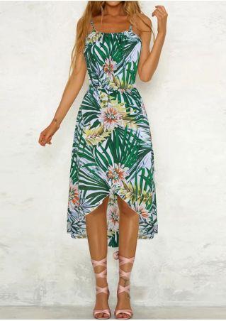 Floral Leaf Spaghetti Strap Casual Dress