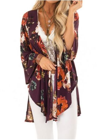 Floral Asymmetric Cardigan without Necklace