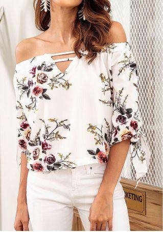 Floral Tie Hollow Out Off Shoulder Blouse