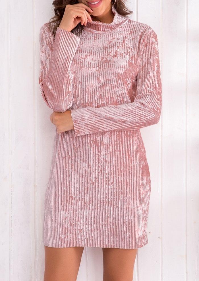 Solid Velvet Long Sleeve Bodycon Dress 415433