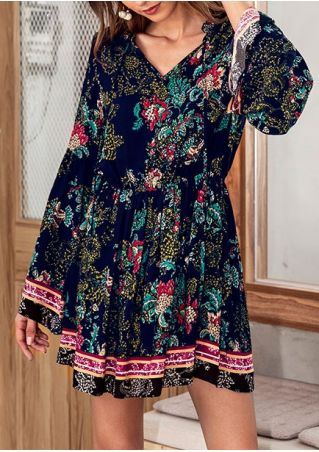Floral Tie Flare Sleeve Mini Dress
