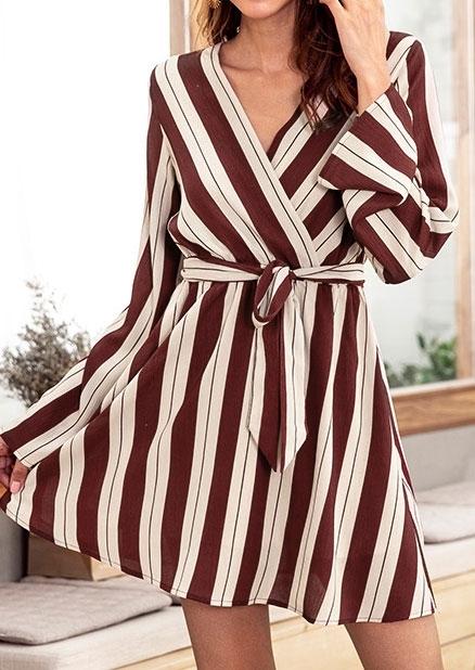 Striped Wrap Long Sleeve Mini Dress 415437