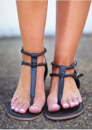 Solid Buckle Flip Flops Flat Sandals