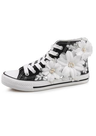 Flower Lace Up Canvas Sneakers