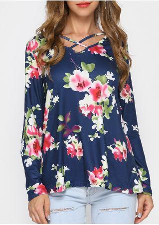 Floral Criss-Cross Long Sleeve Blouse