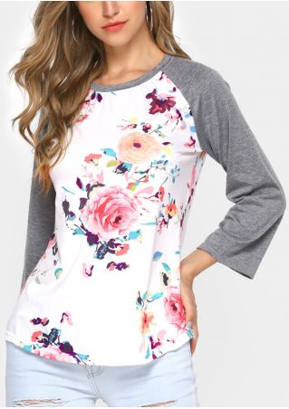 Floral Splicing O-Neck Baseball T-Shirt
