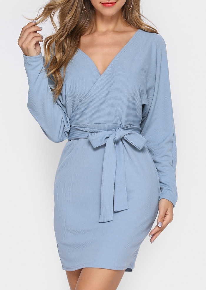 Solid Wrap Backless Bodycon Dress