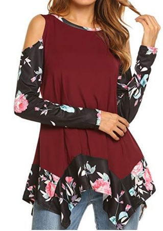 Floral Splicing Cold Shoulder Blouse