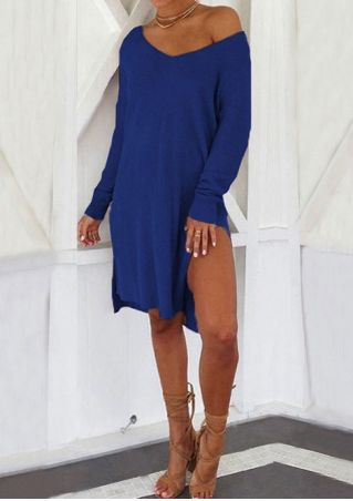 Solid Slit One Shoulder Casual Dress without Necklace
