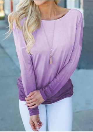 Gradient Color Twisted Blouse without Necklace