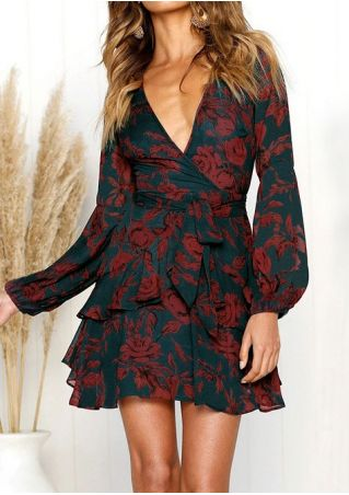 Floral Wrap Layered Mini Dress